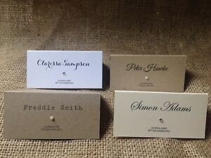 Personalised wedding place cards name cards white ivory kraft diamante pearl
