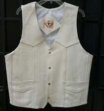 Men's handmade 100% genuine leather Off White  western cowboy vest L