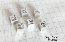 1x High 99.99% Pure Silver Ag 10mm Cube Carved Element Periodic Table Collection