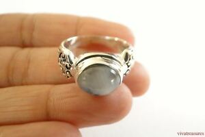 Rainbow Moonstone Solitaire 925 Sterling Silver Ornate Band Ring Size 6 7 8