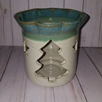 "6.5"" tall x 6"" wide thick pottery candle holder signed D Wright on bottom G"
