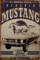 FORD MUSTANG Rustic Metal Sign Vintage Tin Shed Garage Bar Man Cave