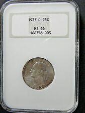 ~1937-D~ WASHINGTON QUARTER. NGC MS66 GRADED, CERTIFIED