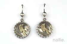 ANTIQUE ENGLISH VICTORIAN SILVER & GOLD BIRD MOTIF AESTHETIC EARRINGS c1880
