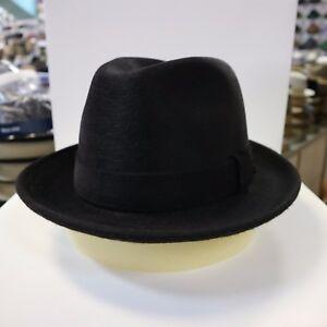 BORSALINO BLACK LONG HAIR FUR FELT DRESS HAT *READ DESCRIPTN FOR SIZE