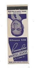 Vintage Matchbook Cover BARNEY ROSS COCKTAIL LOUNGE Chicago Jewish Boxing #43