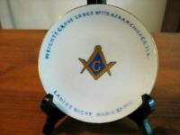 ANTIQUE MASONIC GILDED PLATE WRIGHT'S GROVE LODGE CHICAGO 1915 6 1/8 ""