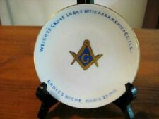 """ANTIQUE MASONIC GILDED PLATE WRIGHT'S GROVE LODGE CHICAGO 1915 6 1/8 """""""