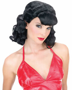 """50""""S GREASE PINK LADY BLACK WIG COSTUME DRESS ACCESSORY FW92565"""
