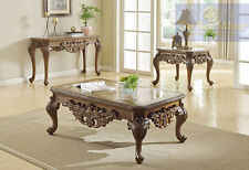 NEW 3PC YORK TRADITIONAL MARBLE INSERT WALNUT FINISH WOOD COFFEE END TABLE SET