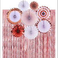 Rose Gold Paper Fans & Foil Fringe Curtain Party Decorations Set Birthday Bridal