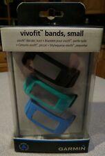 Garmin Vivofit Bands Accessory Wristbands 3 Pack Blue/Teil/Black Size Small, NEW