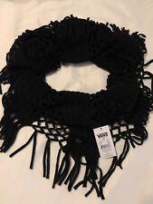 Women's VANS Antics Infinity Cowl Scarf Crochet Knit Black New