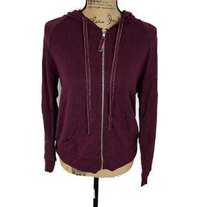 Victorias Secret Womens sz M Jacket Sweatshirt Solid Purple Full Zip Hooded