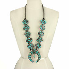 *NWT* Natural Full Squash Blossom Turquoise Necklace 731490089