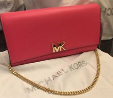 NEW WITH TAG MICHAEL Michael Kors MOTT large leather clutch gold chain,Rose Pink