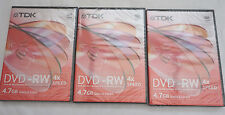 3 TDK Nuovo di Zecca Supporti Vergini DVD-RW dischi registrabili (F)
