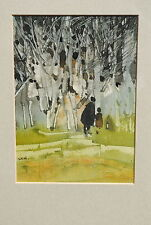 Sue Howells Original Watercolor Walking in the Woods