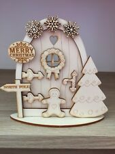 1 x 3D kit (n1) CHRISTMAS FAIRY / ELF / PIXIE DOOR WOODEN EMBELLISHMENT CRAFT