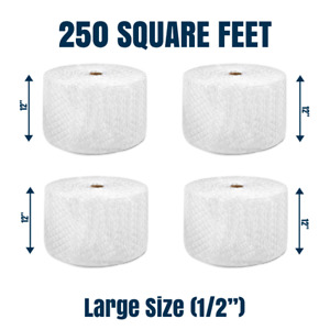 """Bubble Cushioning Wrap 1/2"""" 250 ft² x 12'' Perforated Every 12"""" LARGE BUBBLE"""