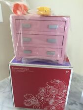 American Girl Pink Bouquet Nightstand Dresser for Doll Bed Room Clock Flower New