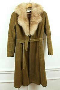 FLAW Vintage 70s Genuine Suede Sherpa Lined Shearling Collar Wrap Coat XS S