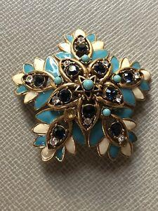 Vintage Joan Rivers enamel and rhinestone floral brooch