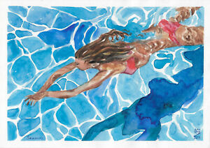 original painting A4 108FD art samovar watercolor modern woman swim sketch