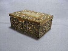 "Small Antique Erhard & Sohne Art Nouveau Brass Jewelry Box, 3"" Long"