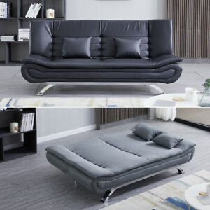 Patchwork Sofa Bed 3 Seater Velvet/PU Leather Chrome Legs Couch Recliner Settee