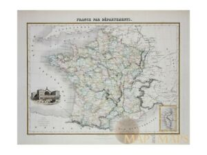 Departments of France old map with Corsica Migeon 1884