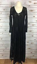 Hot As Hell Mama C Women's Black Lace 3/4 Sleeve Floor Length Maxi Dress Size Sm