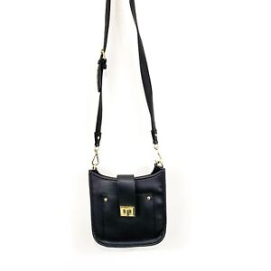 Steve Madden Womens Vegan Pebbled Leather Small Crossbody Black Saddle Bag