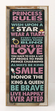 Princess Rules Metal Sign Framed on Rustic Wood, Girls Room Décor