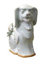 Off White Glaze Ceramic Artistic Dog Figure cs2383