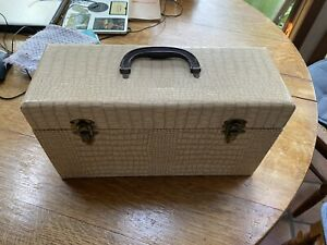 Vintage 45 RPM Record Case, double size, wood construction, Mid Century Modern