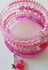 New Handmade Pink Beaded Multi Coiled Memory Wire Bracelet Wrap Around Bangle