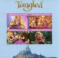 Chad Disney Stamps 2019 MNH Tangled Rapunzel Cartoons Animation 4v IMPF M/S