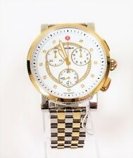 NEW MICHELE SPORT SAIL SILVER+GOLD 2 TONE,DIAMONDS,BRACELET WATCH MWW01K000119