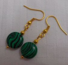 Unique handmade green malachite gold plated earrings with free rubber stoppers