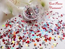 NAIL Art grosso * fantasmic * Mickey Silver Red Dot CERCHIO Glitter Spangle MIX Pot