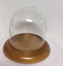 """Clock, Doll or Display Glass Dome 5.5"""" x 5.5""""  (Oak Base) #825ok - New"""