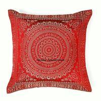 Maroon Brocade Silk Cushion Cover Throw Pillow Case Indian Home Decor Sofa Throw