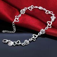 Women Charm Elegant Silver  Plated Heart Rose Beads Chain Bracelet Love Bangle