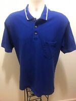 Eddie Bauer Men's Blue 1/4 Zip Polo Short Sleeve Shirt Size Large L Large