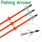 6X Bowfishing Arrows Archery Fish Hunting Safe Slide Tips Fiberglass Shaft