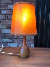 Mid Century Modern Vintage Retro Scandi  Teak Wooden  Table Lamp And Shade