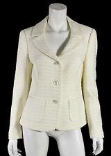 ESCADA Ivory Boucle Tweed Button Front Blazer Jacket 40