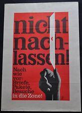 Politisches Plakat gesamtdeutsche Hilfe nicht nachlassen Original 70er E. Strahl