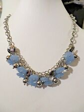 NEW  TALBOTS BLUE/SILVER BEAD NECKLACE